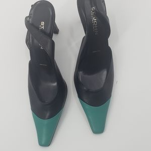 St John collection teal and black slingback heels
